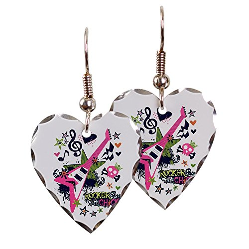 (Earring Heart Charm Rocker Chick Guitar Treble)