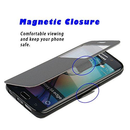 Funda Samsung Galaxy S7 Edge, MTRONX Cover Carcasa Case Caso Ventana Vista Ultra Folio Flip Twill PU Cuero Delgado Piel con Cierre Magnetico Soporte Estante para Samsung Galaxy S7 Edge - Azul(MS1-BU) Gris