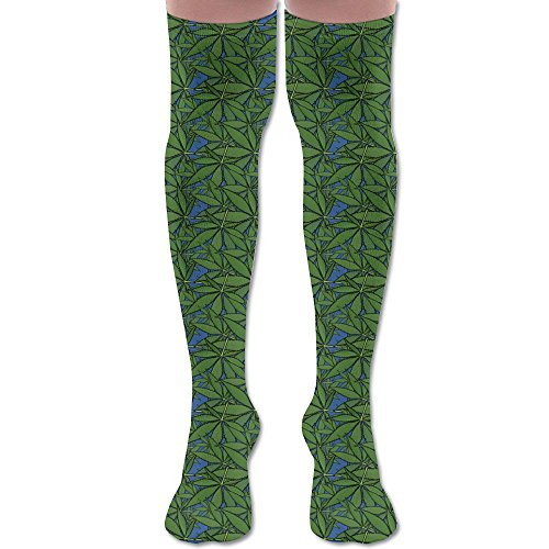 Go Green Weed Marijuana Leaf Comfy Thigh High Socks Over The Knee Women & Men Workout Leg Wamers High Socks For Gym Home (Personalized Leaf Seals)