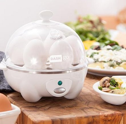 Appliances-Egg Cooker-DASH Go Rapid Egg Cooker In White-Healthy Cooking-Eggs- It boils up to six eggs at a time! by DASH Egg Cooker