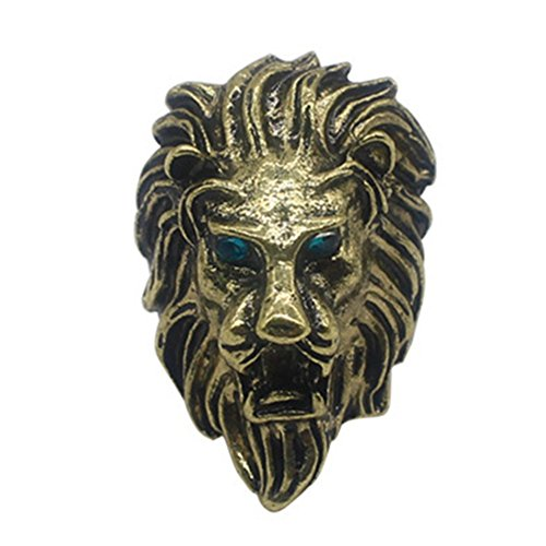 XCFS Unisex Retro Blue Eyes Growl King Lion Head Rings Mens Hip Hop Biker Band Ring