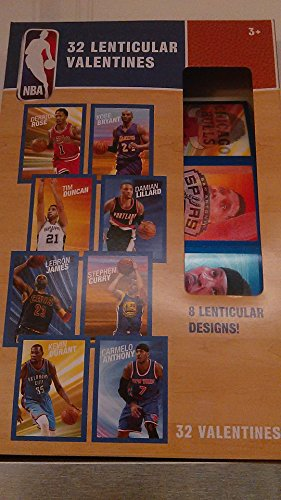 NBA 32 Valentine Trading Cards, Includes 8 Venticular Designs by NBA
