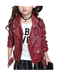 SLLSKY Toddler Girl's Casual Leather Moto Jackets Zipper Placket Black/Red 2T-6T