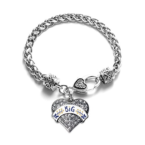 Inspired Silver - Navy Blue and Gold Big Braided Bracelet for Women - Silver Pave Heart Charm Bracelet with Cubic Zirconia Jewelry