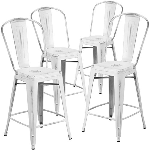 Flash Furniture 4 Pk. 24'' High Distressed White Metal Indoor-Outdoor Counter Height Stool with Back