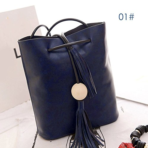 New Fashion Women Leather Satchel Handbag Shoulder Tote Messenger Crossbody Bag, Crafted from high quality PU leather(Blue)