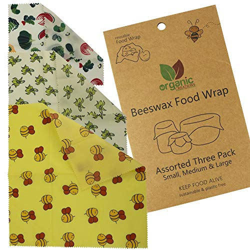 Beeswax Food Wrap Assorted 3 Pack | Eco friendly, Natural beeswax Reusable Food Wrap | Biodegradeable, Organic, washable Bees wax Paper wrap | Plastic Free wax paper wrap by Organic Creations