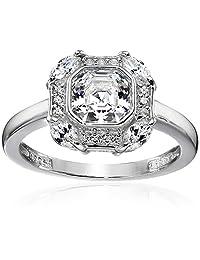 Platinum-Plated Sterling Silver Swarovski Zirconia Asscher Cut Center Antique Inspired Ring