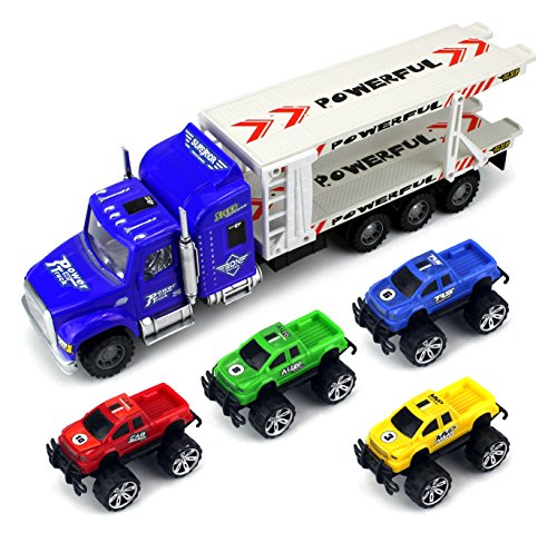 Monster-Transport-Trailer-Childrens-Friction-Toy-Semi-Truck-Ready-To-Run-132-Scale-w-4-Toy-Trucks-Colors-May-Vary