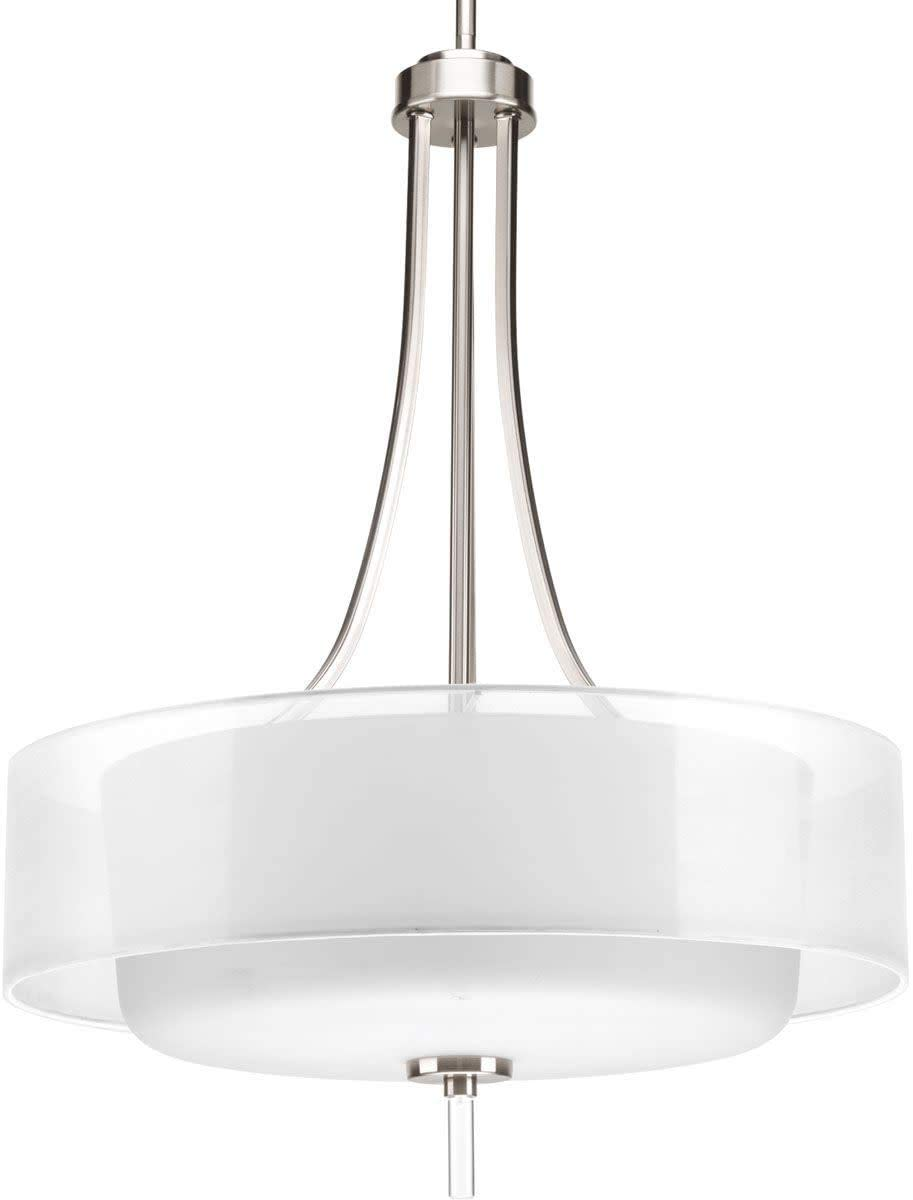 "Progress Lighting P5047-09 Invite 4-Lt. Pendant (20"") with White silk mylar shade"
