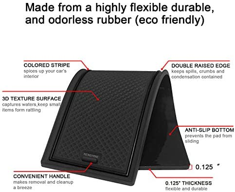 SENSHINE Cup Liner Door Mat for Subaru WRX 2015 2016 2017 2018 2019 2020 Center Console Liner Insert Accessories Kit Custom Fit Black Trim
