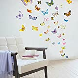 Amaonm® 50 Pcs Colorful Butterfly Wall Decal for Kids Room Bedroom Living Room Wall Stickers Home Decor Heart