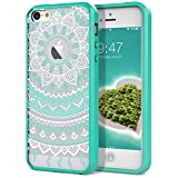 SmartLegend iPhone 5 5S Case, iPhone SE Clear Hybrid Case with Henna Mandala Floral Design Transparent Hard Plastic Back + Soft TPU Bumper Cover for iPhone 5 5S SE - Mint