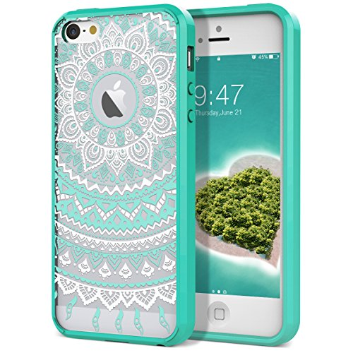 SMARTLEGEND iPhone 5/5S/SE Retro Totem Mandala Floral Pattern Hybrid Clear PC Hard Back Cover with TPU Bumper Acrylic Protective Transparent Case - Mint