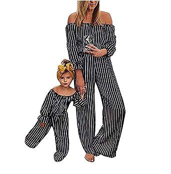 Madre e Hija Pantalones de Peto Chándal de Verano Mono a Rayas ...