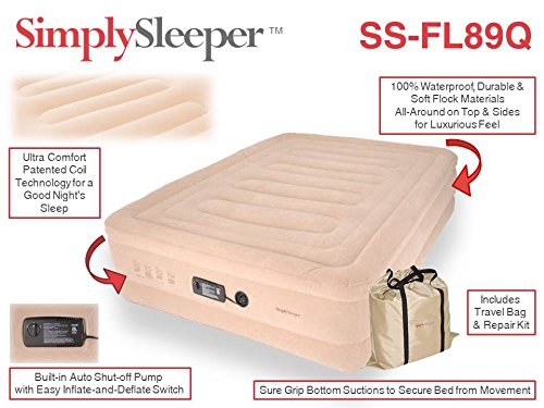 SimplySleeper FL-89Q Raised Inflatable Mattress w/ Flocked Top & Side Material - NEW! Built-in Auto-Stop Electric Pump and Sure Grip Bottom (Includes Travel bag and Repair Kit) by SimplySleeper (Image #4)