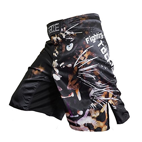 FFITE FIGHTING TECHNIQUES Men's Sports Fitness Pants sotf Training Sanda Tiger Muay Thai Trunks Boxing Shorts MMA Short Kickboxing boxeo (Black, L)