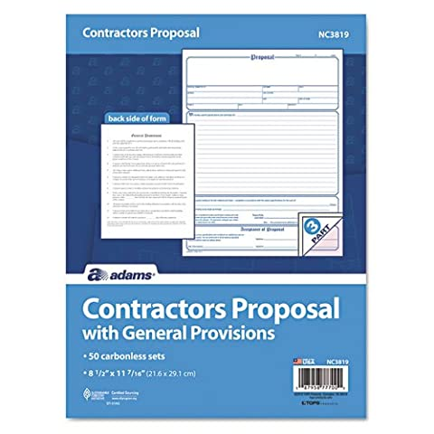 Adams Business Forms Contractor Proposal Form, 3-Part Carbonless, 8 1/2 x 11, 50 Forms - Carbonless Triplicate Proposal Form