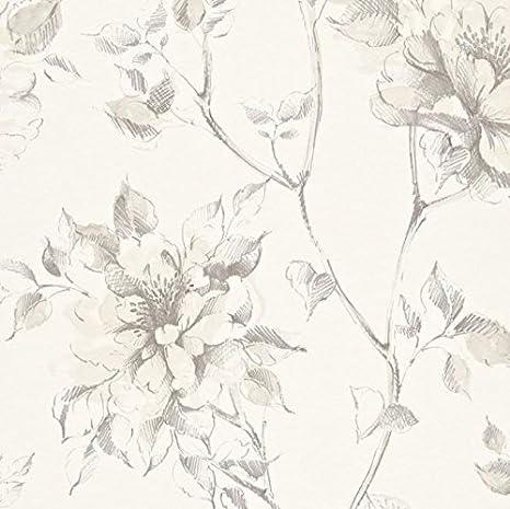 Carta Da Parati Floreale Con Fiori Di Peonia Disegno A Matita 897531