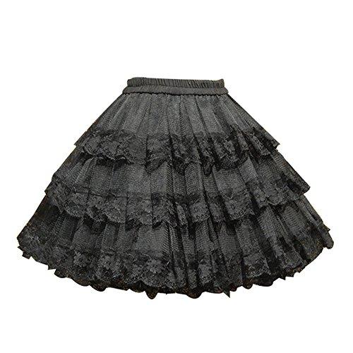 TanQiang Vintage Sweet White/Black Cosplay Skirt Three Layer Lace Gothic Lolita Petticoat Tutu Skirt Crinoline Underskirt