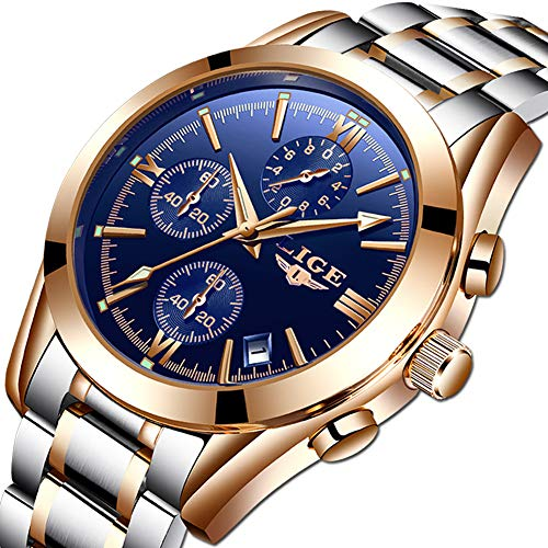 Mens Watches Stainless Steel Fashion Business Analog Quartz Watch Gents Blue Sports Waterproof Chronograph Round Date Gold Watch