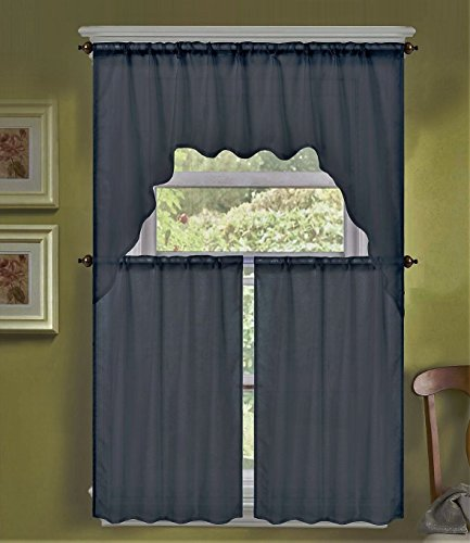 Dark Gray 3Pc Solid Voile Sheer Kitchen Window Curtain 2