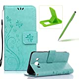 Wallet Leather Case for Galaxy J5 2016,Book Style Pu Leather Case for Galaxy J5 2016,Herzzer Retro Butterfly Flower Pattern Flip Fold Pouch Case with Card Holders Stand Magnetic Case