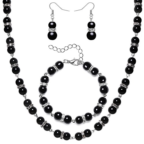 BABEYOND 1920s Bridal Pearl Necklace Bracelet Earrings Set Vintage Bridal Wedding Jewelry Set 20s Gatsby Imitation Pearl Necklace (Black Crystal Jewelry Set)