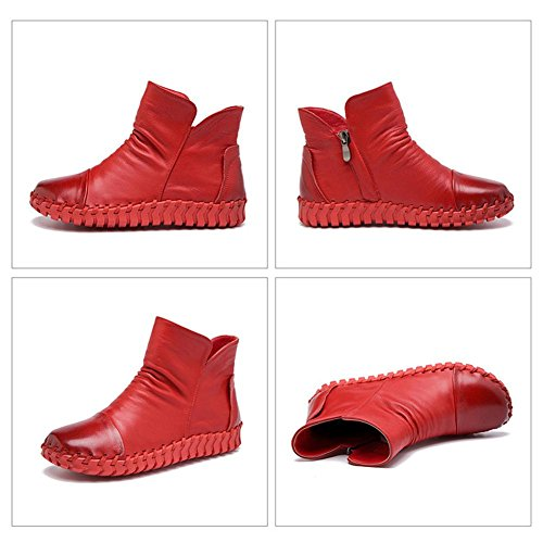 Female Boots Handmade Sewing Retro Short Thicker Plush Leather Zipper Flat Heel Warm Casual Shoes RED-41 jV3mC0kL9L