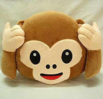Amazon.com: Missley 35cm emoji monkey Emoticon Smiley Cushion Pillow Stuffed Plush Soft Toy throw pillow with Independent Vacuum Packing (MP-NOT LOOK): Home ...