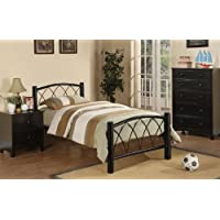 CONTEMPRARY MODERN BLACK METAL KIDS TWIN SIZE BED BY POUNDEX