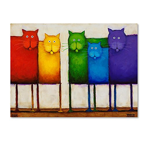 Rainbow Cats by Daniel Patrick Kessler, 35x47-Inch Canvas Wall Art