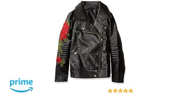 GUESS Girls Big Elsa Rose Applique Pu Leather Jacket