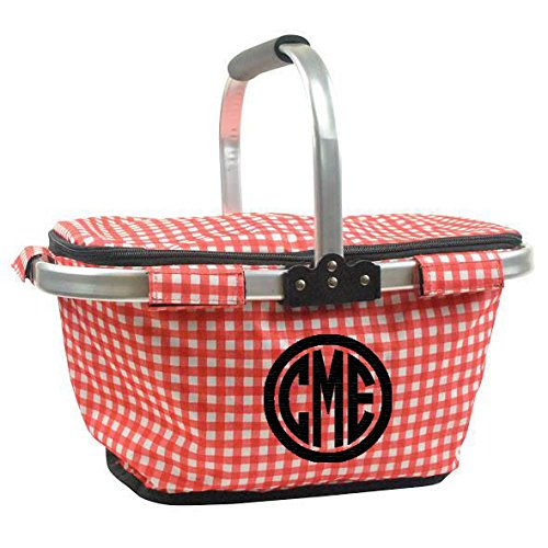Personalized Monogrammed Collapsible Insulated Picnic Basket Market Tote - Red and White Petite