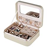 B.Catcher Jewelry Box for Women Small and Portable Golden PU Leather Jewelry Travel