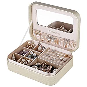 B.Catcher Jewelry Box for Women Small and Portable Golden PU Leather Jewelry Travel Case