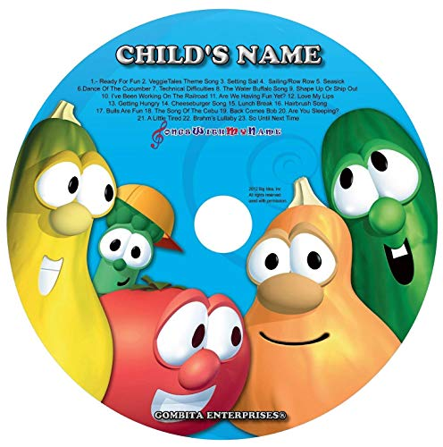 Gombita Enterprises Children Name Personalized - CD & MP3 Digital - Sing Along With Veggie Tales Silly Songs