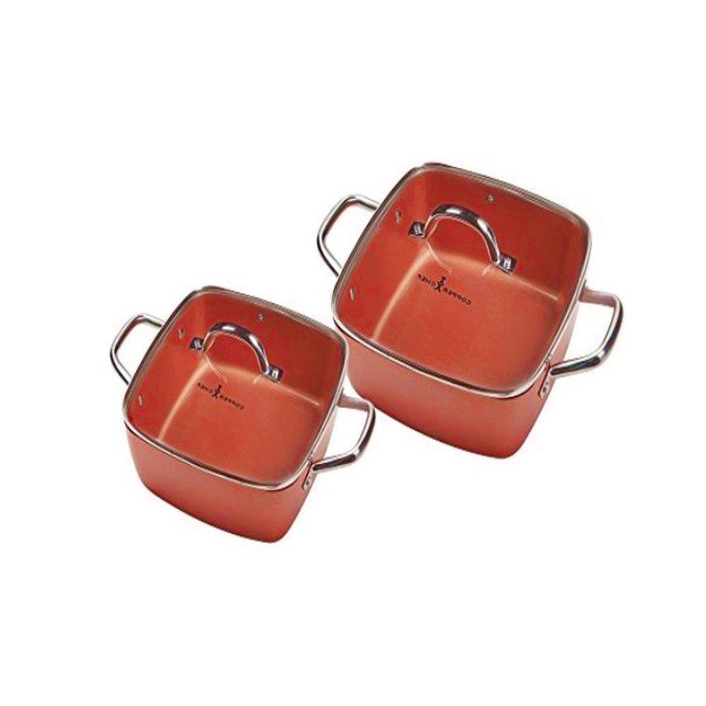 Ceramic Casserole Dish Set Deep SquareパンNonstick Induction Cooktop蓋ハンドルすべて目的モダンキッチンLargeシェフ調理器具オーブン装飾& Eブックby jefshop。   B07CKMMQBX