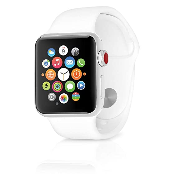 the best attitude 629f5 dcd9f Apple Watch Series 3 38mm GPS + Cellular Silver Aluminum Case with White  Sport Band (Renewed)