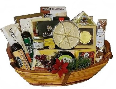 Grand Deluxe Party Cheese, Meat & Nuts Basket by Goldspan Gift Baskets