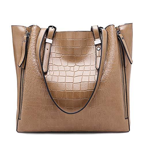 Women Top-Handle Bags PU Leather Women Messenger Bags Double Strap Big Shoulder Bags Khaki (Dooney And Bourke Double Strap Tassel Bag)
