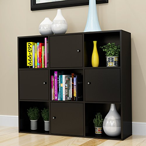 Betwoo Cube Bookcase Cabinet Shelf Storage Organizer Lockers with Doors(3 Tier Shelf, Black) (Bookcase Cabinets)