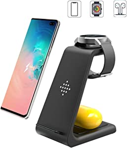 Wireless Charging Station, 3 in 1 Premium Qi-Certified Charging Stand Fast Charger Compatible with Samsung Galaxy S20 S10/S9/8/Note10, Galaxy Buds+&Galaxy Watch Active2/1, Gear S2/S3, iPhone 11/XS/XR