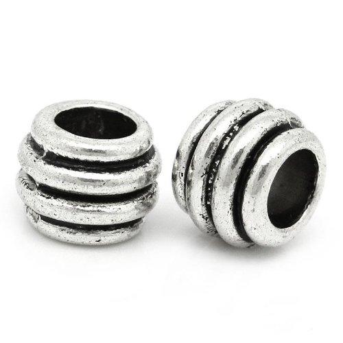 (100pc Antique Silver Stripe Spacer Beads Large Hole Fits European Bracelets)