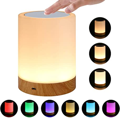 Niome Touch Control Bedside Lamp, Built in Lithium Battery Chargeable Smart Dimmable RGB Color Changing Table Night Light for Kids Children Bedroom