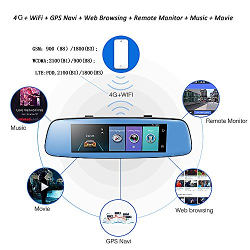 Podofo 4g Dash Cam Backup Camera 7 84 Quot Android 5 1 Touch