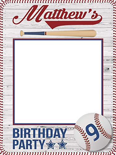 Baseball Birthday Photo Booth, Baseball party - Size 36x24, 48x36; Baseball Frame, Personalized Baseball bat, Sports Birthday selfie frame, Handmade Party Supply Baseball Birthday Party Photo prop]()