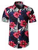 #4: JOGAL Men's Flower Casual Button Down Short Sleeve Hawaiian Shirt