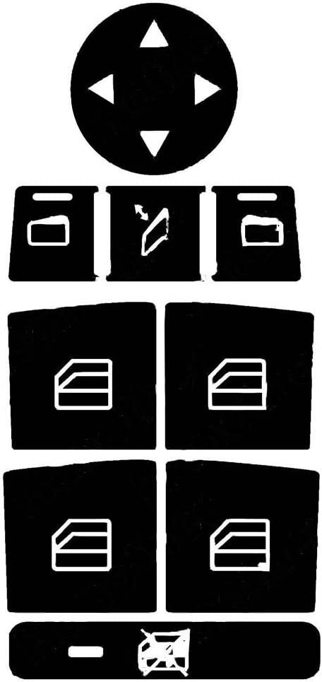 Ben-gi Reuseable Car Auto Window Control and Radio Buttons Cover Trim Sticker Kit for W204 C250 C300 C350