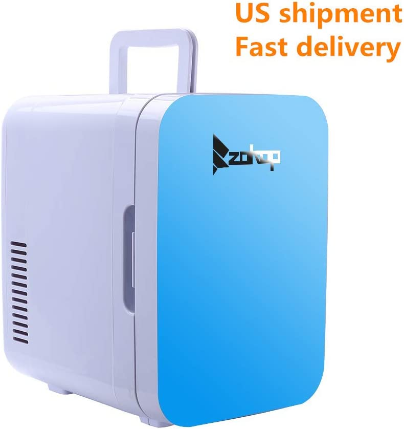 ZOKOP Electric Mini Portable Fridge Cooler Warmer 6 Liter 0.21 Cuft 8 Can AC DC Portable Thermoelectric System Blue Blue